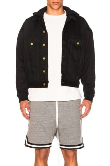 Fear of God Hooded Trucker Jacket with French Terry Sleeves