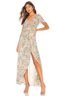 AUGUSTE Spring Rose Wrap Maxi Dress