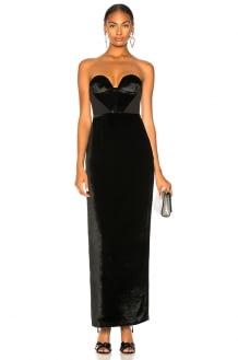 Carmen March Velvet Strapless Gown