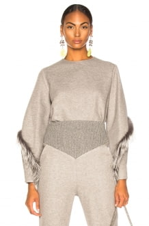 Sally Lapointe Cocoon Top With Fox Fur