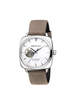 BRISTON Briston Clubmaster Iconic Steel Automatic HMS Date White Dial Opening 40mm