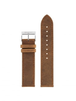 BRISTON Briston 2-Part Vintage Leather Strap Brown Polished Steel 20mm