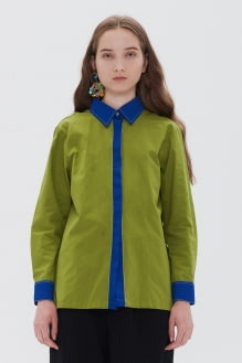 Shopatvelvet Contrast Shirt Green