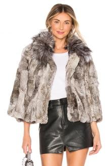 Adrienne Landau Fur Collar Rabbit Jacket