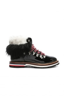 Moncler Patent Leather Solange Scarpa Boots With Mink Fur
