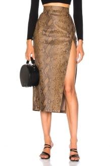 Zeynep Arcay for FWRD Snake Skin Print Leather Midi Skirt