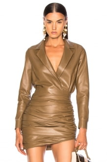 Zeynep Arcay for FWRD Leather Shirt Bodysuit