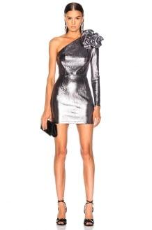Zeynep Arcay for FWRD One Shoulder Leather Dress