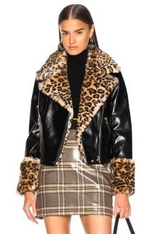 Shrimps Faux Fur & Leather Maisie Jacket