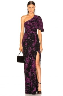 Zuhair Murad Patchwork Embroidery One Shoulder Gown