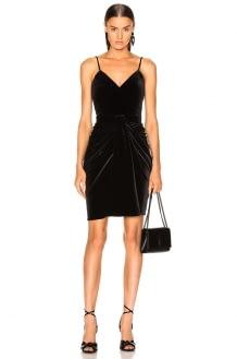 Brandon Maxwell Velvet Mirror Pleat Sweetheart Mini Dress