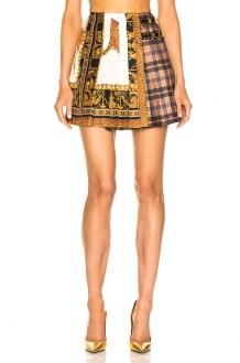 Versace Mixed Print Pleated Skirt