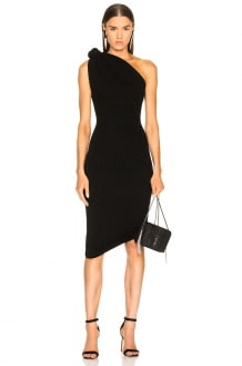 Brandon Maxwell Rib Knit Knot Shoulder Mini Dress