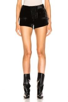 Unravel Velvet Lace Up Shorts
