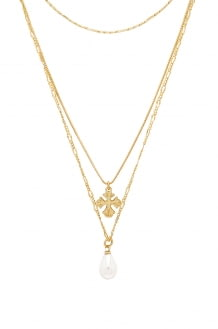Luv Aj Nouveau Cross With Freshwater Pearl Charm Necklace
