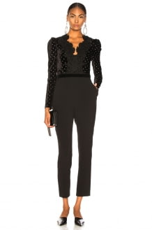 Self Portrait Lace Trimmed Velvet Diamante Jumpsuit