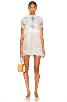 Self Portrait Spiral Panel Lace Mini Dress