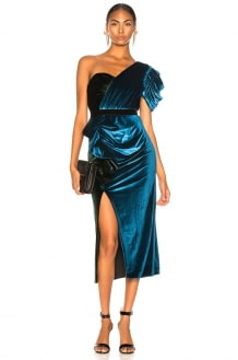 Self Portrait One Shoulder Velvet Midi Dress