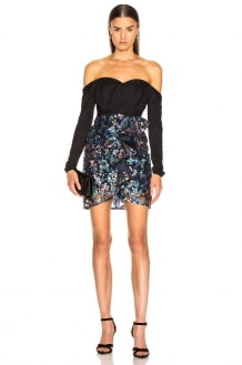 Self Portrait Off Shoulder Floral Sequin Embellished Dress