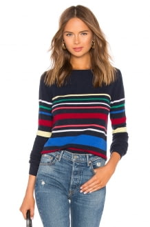 Autumn Cashmere Multi Stripe Boatneck Sweater
