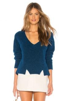 LNA Cropped V Neck Alpaca Sweater