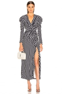 Jonathan Simkhai Multimedia Stripe Ruffle Slit Dress