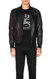 Burberry Sandford Leather Bomber Jacket