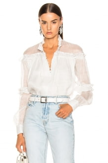 Jonathan Simkhai Metallic High Collar Blouse