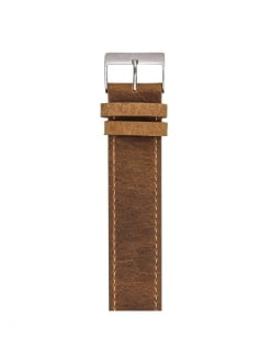 BRISTON Briston Vintage Leather Strap Brown Polished Steel 20mm