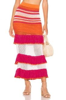Suboo Carmen Ruffled Knit Midi Skirt