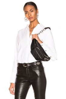 L'Agence Tegan Band Collar Blouse With Piping