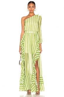 PatBo Striped One Shoulder Maxi Dress