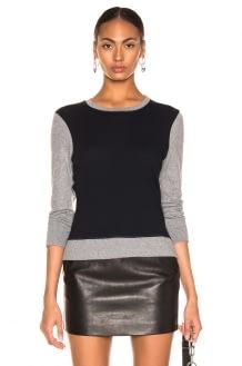 ENZA COSTA Cashmere Color Block Sweatshirt