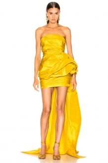 Oscar de la Renta Strapless Ruched Silk Mini Dress