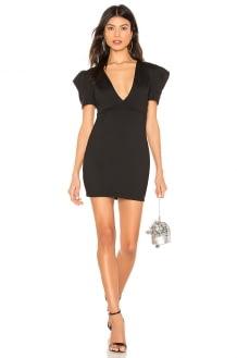 Susana Monaco Pleated Sleeve Deep V Mini Dress