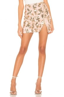 h:ours Kat Mini Skirt in Pink and Gold