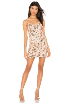 h:ours Nolita Mini Dress in Pink and Gold